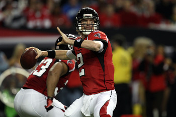 ATLANTA, GA - JANUARY 15:  Quarterback Matt Ryan #2 of the Atlanta Falcons throws a pass against the Green Bay Packers during their 2011 NFC divisional playoff game at Georgia Dome on January 15, 2011 in Atlanta, Georgia.  (Photo by Streeter Lecka/Getty I