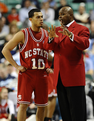 GREENSBORO, NC - MARCH 11: Javier Gonzalez  #10 confers with head coach Sidney Lowe of the Clemson Tigers during their game against the NC State Wolfpack in the first round in the 2010 ACC Men's Basketball Tournament at the Greensboro Coliseum on March 11