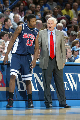 LOS ANGELES, CA - JANUARY 20: Arizona Wildcats head coach Lute Olson coaches Jordan Hill #43 against the UCLA Bruins at Pauley Pavilion during the game on January 20, 2007 in Los Angeles, California. UCLA defeated Arizona 73-69. (Photo by Jeff Gross/Getty