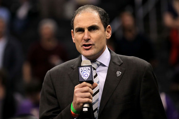 LOS ANGELES, CA - MARCH 12:  Pac-10 Commissioner Larry Scott addresses the crowd after the championship game of the 2011 Pacific Life Pac-10 Men's Basketball Tournament between the Arizona Wildcats and the Washington Huskies at Staples Center on March 12,