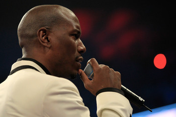 LAS VEGAS, NV - MAY 07:  Actor/singer Tyrese Gibson sings the United States National Anthem before the Manny Pacquiao and Shane Mosley WBO welterweight title fight at MGM Grand Garden Arena on May 7, 2011 in Las Vegas, Nevada.  (Photo by Chris Trotman/Get