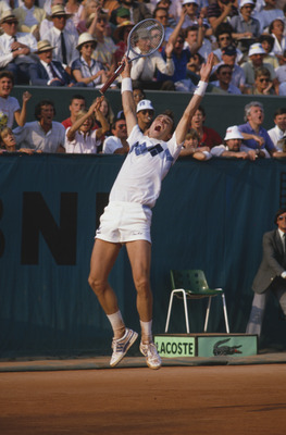 Czech tennis player Ivan Lendl wins the 1984 French Open at Roland Garros, Paris, June 1984. Lendl came from two sets down to beat John McEnroe. (Photo by Steve Powell/Getty Images)
