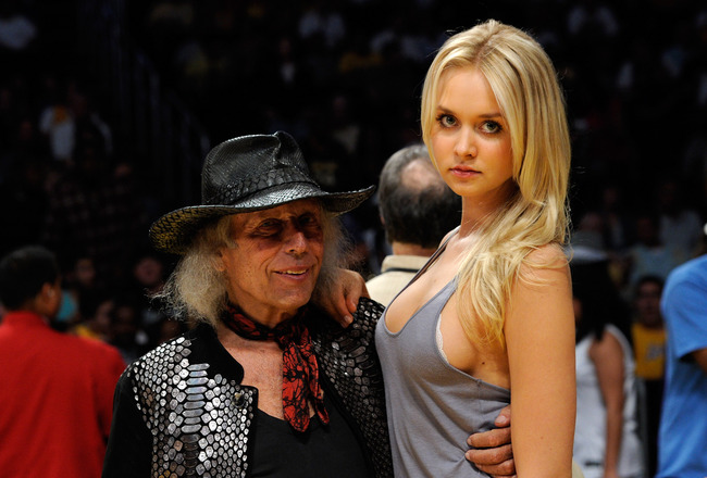 LOS ANGELES, CA - MAY 04:  James Goldstein and Danish model Amalie Wichmann pose before Game Two of the Western Conference Semifinals in the 2011 NBA Playoffs between the Los Angeles Lakers and the Dallas Mavericks at Staples Center on May 4, 2011 in Los