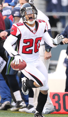 SEATTLE, WA - DECEMBER 19:  Brent Grimes #20 of the Atlanta Falcons celebrates after making an interception against the Seattle Seahawks at Qwest Field on December 19, 2010 in Seattle, Washington. The Falcons defeated the Seahawks 34-18. (Photo by Otto Gr