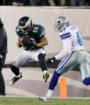 PHILADELPHIA, PA - JANUARY 02:  Chad Hall #16 of the Philadelphia Eagles hauls in a long reception against Terence Newman #41 of the Dallas Cowboys on January 2, 2011 at Lincoln Financial Field in Philadelphia, Pennsylvania. The Cowboys defeated the Eagle