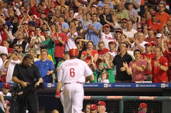 PHILADELPHIA - MAY 2: Fans cheer first baseman Ryan Howard #6 of the Philadelphia Phillies after hitting a home run during a game against the New York Mets at Citizens Bank Park on May 2, 2010 in Philadelphia, Pennsylvania. The Phillies won 11-5. (Photo b