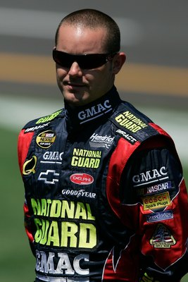 TALLADEGA, AL - APRIL 28:  Casey Mears, driver of the #25 National Guard/GMAC Chevrolet, stands on pit road during qualifying for the NASCAR Nextel Cup Series Aaron's 499 at Talladega Superspeedway on April 28, 2007 in Talladega, Alabama.  (Photo by Jason