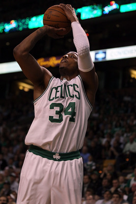 BOSTON, MA - MAY 07: Paul Pierce #34 of the Boston Celtics takes a shot in the first quarter against the Miami Heat in Game Three of the Eastern Conference Semifinals in the 2011 NBA Playoffs on May 7, 2011 at the TD Garden in Boston, Massachusetts.  NOTE