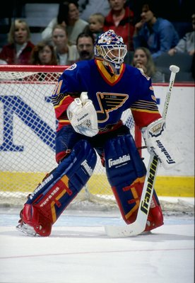 22 Mar 1998:  Goaltender Grant Fuhr of the St. Louis Blues in action during a game against the Calgary Flames at the Saddledome in Calgary, Alberta Canada. The Flames defeated the Blues 5-4. Mandatory Credit: Ian Tomlinson  /Allsport