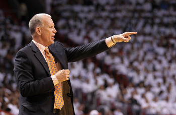 MIAMI, FL - APRIL 18:  Philadelphia 76ers head coach Doug Collins yells from the sideline  during game two of the Eastern Conference Quarterfinals against the Miami Heat  at American Airlines Arena on April 18, 2011 in Miami, Florida. NOTE TO USER: User e