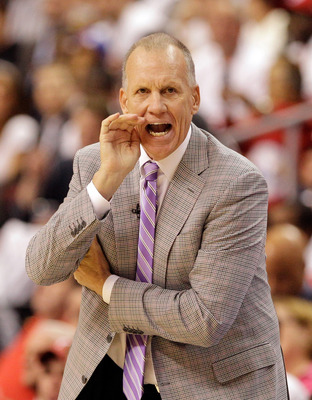PHILADELPHIA, PA - APRIL 21:  Head coach Doug Collins of the Philadelphia 76ers during Game Three of the Eastern Conference Quarterfinals against the Miami Heat during the 2011 NBA Playoffs at Wells Fargo Center on April 21, 2011 in Philadelphia, Pennsylv