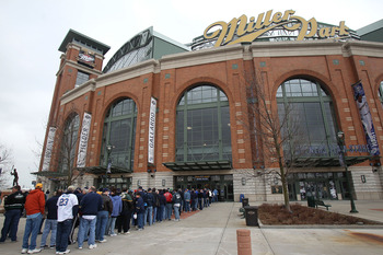 MILWAUKEE, WI - APRIL 04: Fans wait in line to enter Miller Park before the home opener between the Atlanta Braves and the Milwaukee Brewers on April 4, 2011 in Milwaukee, Wisconsin. (Photo by Jonathan Daniel/Getty Images)