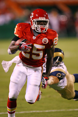 KANSAS CITY, MO - AUGUST 28:  Rookie running back Jamaal Charles #25 of the Kansas City Chiefs eludes a defender during a preseason game against the St. Louis Rams on August 28, 2008 at Arrowhead Stadium in Kansas City, Mo.  (Photo by G. Newman Lowrance/G