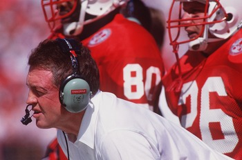 26 SEP 1992:  NEBRASKA HEAD COACH TOM OSBORNE ON THE SIDELINES DURING THE 45-24 WIN OVER ARIZONA STATE AT MEMORIAL STADIUM IN LINCOLN, NEBRASKA. Mandatory Credit: Earl Richardson/ALLSPORT