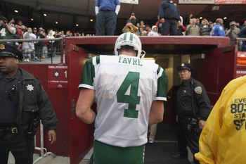 SAN FRANCISCO - DECEMBER 07:  Quarterback Brett Favre #4 of the New York Jets walks to the tunnel against the San Francisco 49ers during an NFL game on December 7, 2008 at Candlestick Park in San Francisco, California. (Photo by Jed Jacobsohn/Getty Images