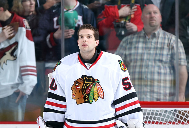 GLENDALE, AZ - MARCH 20:  Goaltender Corey Crawford #50 of the Chicago Blackhawks before the NHL game against the Phoenix Coyotes at Jobing.com Arena on March 20, 2011 in Glendale, Arizona. The Blackhawks defeated the Coyotes 2-1.  (Photo by Christian Pet