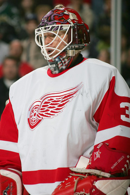 DALLAS - JANUARY 28:  Manny Legace #34 of the Detroit Red Wings looks on against the Dallas Stars at the American Airlines Center on January 28, 2006  in Dallas, Texas. The Stars won 2-1 in a shootout. (Photo by Ronald Martinez/Getty Images)