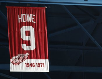 DETROIT - MARCH 11:  The jersey retirement banner for Gordie Howe #9 of the Detroit Red Wings (1946-1971) hangs in the rafters during a game against the Minnesota Wild on March 11, 2010 at Joe Louis Arena in Detroit, Michigan.  (Photo by Gregory Shamus/Ge