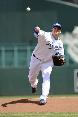 KANSAS CITY, MO - APRIL 15:  Starting pitcher Sidney Ponson of the Kansas City Royals wears a #42 jersey during the Jackie Robinson Day game against the Cleveland Indians on April 15, 2009 at Kauffman Stadium in Kansas City, Missouri.  (Photo by G. Newman