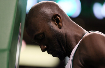 BOSTON, MA - MAY 07: Kevin Garnett #5 of the Boston Celtics gets ready before Game Three of the Eastern Conference Semifinals in the 2011 NBA Playoffs on May 7, 2011 at the TD Garden in Boston, Massachusetts.  NOTE TO USER: User expressly acknowledges and
