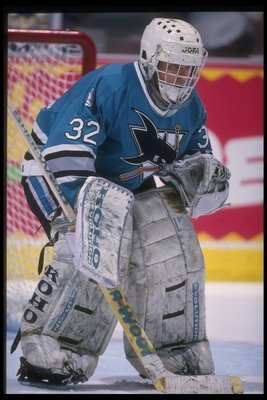 17 Apr 1995: Goaltender Arturs Irbe of the San Jose Sharks looks on during a game against the Anaheim Mighty Ducks at Arrowhead Pond in Anaheim, California. The Ducks won the game, 3-0.