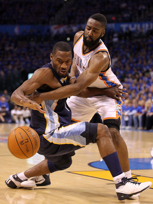 OKLAHOMA CITY, OK - MAY 03:  Guard Tony Allen #9 of the Memphis Grizzlies loses the ball against James Harden #13 of the Oklahoma City Thunder in Game Two of the Western Conference Semifinals in the 2011 NBA Playoffs on May 3, 2011 at Oklahoma City Arena