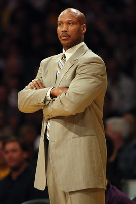 LOS ANGELES - NOVEMBER 6:  Head coach Byron Scott of the New Orleans Hornets looks on during the game against the Los Angeles Lakers at Staples Center on November 6, 2007 in Los Angeles, California.  The Hornets won 118-104.  NOTE TO USER: User expressly