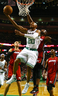 BOSTON, MA - MAY 07: Ray Allen #20 of the Boston Celtics takes a shot as Dwyane Wade #3 of the Miami Heat defends in Game Three of the Eastern Conference Semifinals in the 2011 NBA Playoffs on May 7, 2011 at the TD Garden in Boston, Massachusetts.  NOTE T