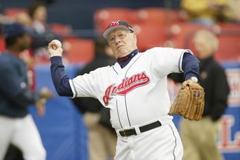 WINTER HAVEN, FL - MARCH 3:  Former Indian and Hall of Fame pitcher Bob Feller throws the ball around before a Spring Training game against the Houston Astros on March 3, 2005 at Chain-O-Lakes Park in Winter Haven, Florida. The Indians won 7-3. (Photo by