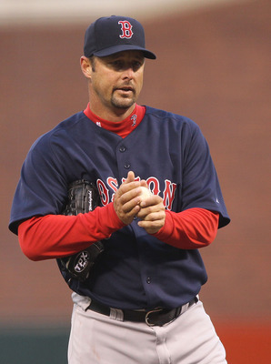 SAN FRANCISCO - JUNE 25:  Tim Wakefield #49 of the Boston Red Sox looks on after giving up three runs in the second inning against the San Francisco Giants during an MLB game at AT&T Park on June 25, 2010 in San Francisco, California.  (Photo by Jed Jacob