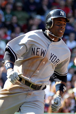 BOSTON, MA - APRIL 9:  Curtis Granderson #14 of the New York Yankees rounds the bases after hitting a home run off of Felix Doubront #61 of the Boston Red Sox at Fenway Park April 9, 2011 in Boston, Massachusetts. (Photo by Jim Rogash/Getty Images)