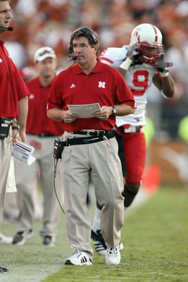 AUSTIN, TX - OCTOBER 27: Head coach Bill Callahan of the Nebraska Cornhuskers walks on the sidelines during the game against the Texas Longhorns at Darrell K Royal-Texas Memorial Stadium October 27, 2007 in Austin, Texas. Texas won 28-25. (Photo by Brian