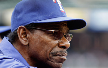 BALTIMORE, MD - APRIL 10: Manager Ron Washington #38 of the Texas Rangers looks on during their game against the Baltimore Oriolesat Oriole Park at Camden Yards on April 10, 2011 in Baltimore, Maryland.  (Photo by Rob Carr/Getty Images)