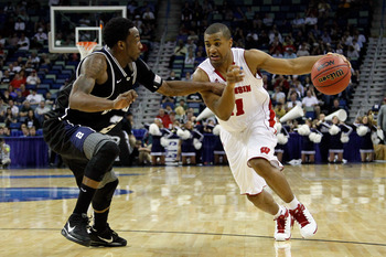 NEW ORLEANS, LA - MARCH 24:  Jordan Taylor #11 of the Wisconsin Badgers drives against Shawn Vanzant #2 of the Butler Bulldogs during the Southeast regional of the 2011 NCAA men's basketball tournament at New Orleans Arena on March 24, 2011 in New Orleans
