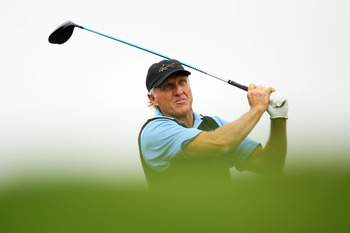 SYDNEY, AUSTRALIA - DECEMBER 02:  Greg Norman of Australia plays a tee shot during day one of the Australian Open at The Lakes Golf Club on December 2, 2010 in Sydney, Australia.  (Photo by Matt King/Getty Images)