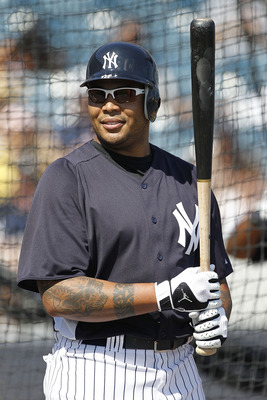 TAMPA, FL - FEBRUARY 21:  Andruw Jones #18 of the New York Yankees works out during the second day of full teams workouts at Spring Training on February 21, 2011 at the George M. Steinbrenner Field in Tampa, Florida.  (Photo by Leon Halip/Getty Images)