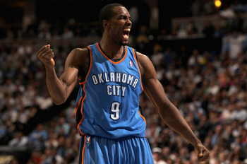 DENVER, CO - APRIL 23:  Serge Ibaka #9 of the Oklahoma City Thunder celebrates after being fouled against the Denver Nuggets in Game Three of the Western Conference Quarterfinals in the 2011 NBA Playoffs on April 23, 2011 at the Pepsi Center in Denver, Co