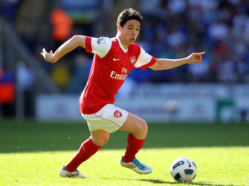 BOLTON, ENGLAND - APRIL 24:  Samir Nasri of Arsenal in action during the Barclays Premier League match between Bolton Wanderers and Arsenal at the Reebok Stadium on April 24, 2011 in Bolton, England.  (Photo by Clive Brunskill/Getty Images)