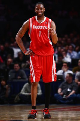 NEW YORK - JANUARY 26:  Tracy McGrady #1 of the Houston Rockets smiles against the New York Knicks on January 26, 2009 at Madison Square Garden in New York City.  NOTE TO USER: User expressly acknowledges and agrees that, by downloading and/or using this