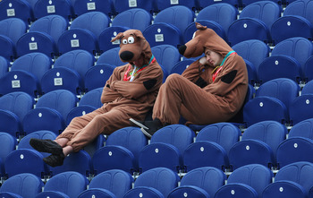 CARDIFF, WALES - JULY 10: Supporters dressed as Scooby-Doo rest during a rain delay on day three of the npower 1st Ashes Test Match between England and Australia at the SWALEC Stadium on July 10, 2009 in Cardiff, Wales.  (Photo by Hamish Blair/Getty Image