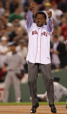 BOSTON - APRIL 04:  Former the Boston Red Sox pitcher Pedro Martinez greets the fans before the game against the New York Yankees on April 4, 2010 during Opening Night at Fenway Park in Boston, Massachusetts.  (Photo by Elsa/Getty Images)