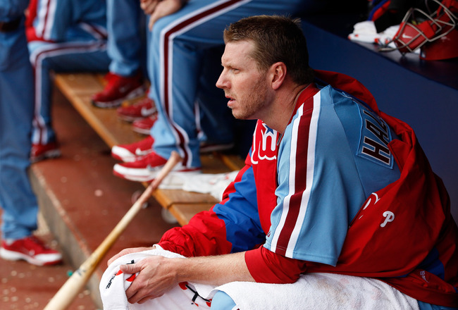 ATLANTA, GA - MAY 15:  Roy Halladay #34 of the Philadelphia Phillies sits in the dugout between innings against the Atlanta Braves at Turner Field on May 15, 2011 in Atlanta, Georgia.  (Photo by Kevin C. Cox/Getty Images)