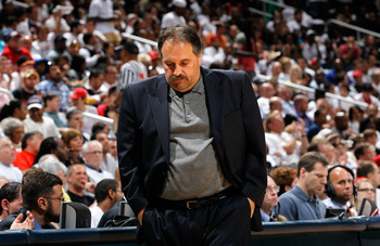 ATLANTA, GA - APRIL 28:  Stan Van Gundy of the Orlando Magic reacts after a missed basket during Game Six of the Eastern Conference Quarterfinals in the 2011 NBA Playoffs against the Atlanta Hawks at Philips Arena on April 28, 2011 in Atlanta, Georgia.  N