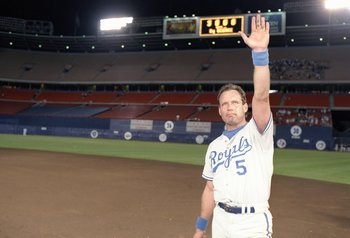 30 Sep 1992:  Infielder George Brett of the Kansas City Royals in action during a game against the California Angels at Anaheim Stadium in Anaheim, California. Mandatory Credit: Stephen Dunn  /Allsport