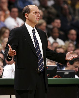 MILWAUKEE - NOVEMBER 08:  Head coach Jeff Van Gundy of the Houston Rockets questions a call during a game against the Milwaukee Bucks on November 8, 2006 at the Bradley Center in Milwaukee, Wisconsin. NOTE TO USER: User expressly acknowledges and agreees
