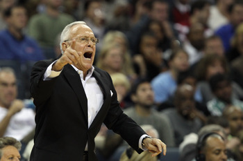 CHARLOTTE, NC - NOVEMBER 08:  Head coach Larry Brown of the Charlotte Bobcats yells to his team during their game against the San Antonio Spurs at Time Warner Cable Arena on November 8, 2010 in Charlotte, North Carolina.  NOTE TO USER: User expressly ackn