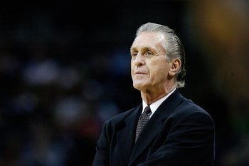 CHARLOTTE, NC - NOVEMBER 13:  Head coach Pat Riley of the Miami Heat looks across the court during the game against the Charlotte Bobcats on November 13, 2007 at Charlotte Bobcats Arena in Charlotte, North Carolina.  The Bobcats won 91-76.  NOTE TO USER: