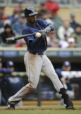 MINNEAPOLIS, MN - APRIL 28: B.J. Upton #2 of the Tampa Bay Rays bats against the Minnesota Twins during in the seventh inning of their game on April 28, 2011 at Target Field in Minneapolis, Minnesota. Rays defeated the Twins 15-3. (Photo by Hannah Foslien