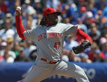 CHICAGO, IL - MAY 08: Starting pitcher Johnny Cueto #47 of the Cincinnati Reds delivers the ball against the Chicago Cubs at Wrigley Field on May 8, 2011 in Chicago, Illinois. (Photo by Jonathan Daniel/Getty Images)
