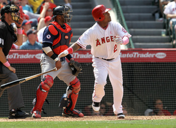 ANAHEIM, CA - MAY 08:  Erick Aybar #2 of the Los Angeles Angels of Anaheim hits a two RBI double in the eighth inning to give the Angels the win over the Cleveland Indians on May 8, 2011 at Angel Stadium in Anaheim, California. The Angels won 6-5.  (Photo